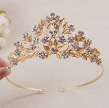 5cm High Lovely Gold Leaf Clear Crystal Adult Big Tiara Crown Wedding Prom Party