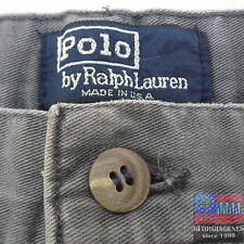 POLO RALPH LAUREN Mens Shorts 33 Grey Golf Chino MADE IN USA Vintage VTG Pleated