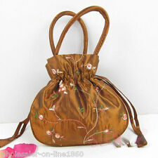 Fashion Women's Brown Silk Embroidered Floral Drawstring Cosmetic Bag