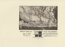 "1976 Vintage CALIFORNIA ""GREAT FIRE IN SAN FRANCISCO MAY 4TH 1850"" Lithograph 52"