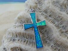 STERLING SILVER CROSS WITH BLUE FIRE OPAL INLAY