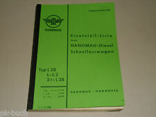 Ersatzteilliste Ersatzteilkatalog Hanomag Diesel LKW L 28 L-L 2, Stand 11/1952