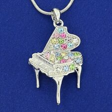"w Swarovski Crystal Multi Color Music Grand Piano 18"" Chain Necklace Pendant"