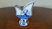 HandPainted Blue Color Delfts Bud Vase Signed E.H.659