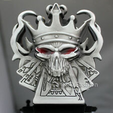 Retro Silver Western King Of Spades Skull Royal Flush Poker Gamble Belt Buckle H