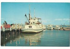 MAIL and Passenger Boats in HARBOR at TANGIER ISLAND Virginia Postcard VA