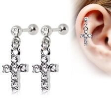 (2 lot) PAIR of Jeweled CROSS CARTILAGE Barbells Ear Rings Stud Piercing Jewelry
