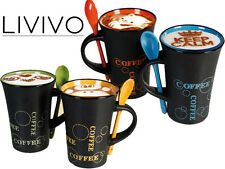 LIVIVO 4 COFFEE COLOURED MUGS W SPOON TEA LATTE CUPS CERAMIC ESPRESSO CHOCOLATE