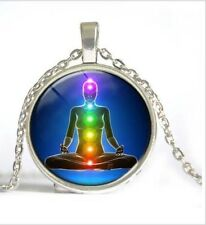 Glass Cabochon CHAKRA YOGA HEALING REIKI Pendant Necklace 50 cm chain UK Seller