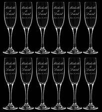 Personalized Engraved Wedding Champagne Flutes - Set of Twelve (12) Glasses