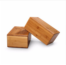 Bamboo Yoga Block Prop Fitness Wood Gear Pilates Exercise Natural Stretch Pro