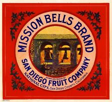 National City San Diego Mission Bells Orange Citrus Fruit Crate Label Art Print