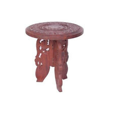 Onlineshoppee Antique Wooden Foldable Table With Handicrafts Design 9 inch
