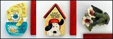 Dog Cat Bird Pet Lover Vet Set of 3 Magnets Always Trouble Hug Hit the Spot used