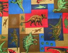 Dinosaurs Blocks Allover Dino Kids Novelty Quilt Fabric Fat Quarter FQ FQs