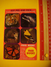 5 STICKERs ~ MY FIRST POCKET GUIDES Tiger,Dolphin,Butterfly, Yellow Finch,Possum