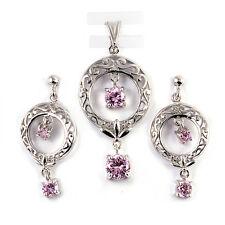 Pink Topaz Dangle Drop .925 Sterling Silver Earrings & Pendant Set
