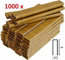 1000 GRAPAS DE 6mm X 15mm PARA GRAPADORA ELECTRICA PARKSIDE PET ALTA CALIDAD