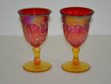 INDIANA GLASS IRIDESCENT HEIRLOOM SUNSET FLAME RED AMBERINA GOBLETS SET OF 2