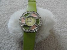 Pretty Cannes Quartz Ladies Watch - Flower Shaped with a Green Band