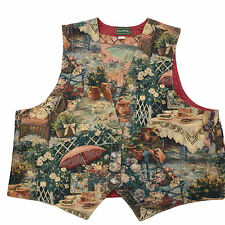 Womens Tapestry Vest Size 3X XXXL WILLOWBEND Made in USA Beautiful Flowers Sprin