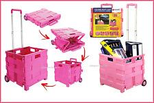 Carrello per la spesa pieghevole 35kg Storage Boot carrello BOX GABBIA AUTO FURGONE CAMPEGGIO Rosa