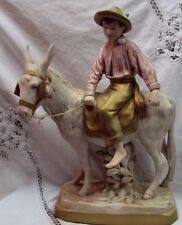 "Rare Find CZECH ROYAL DUX Figurine ~ 1989 BOY ON DONKEY ~ Matte Finish ~ 14.5"" H"