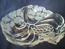 LARGE GLASS  BOWL CLEAR ETCHED GLASS DECORATIVE CENTER PIECE THICK HEAVY Perfect