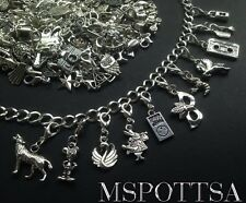 25 Mixed Pieces Bracelet Clip Ons Charms Silver Lobster Clasp Purse Zipper Pulls