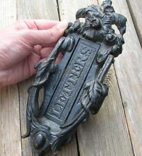 Old Vertical Kenrick Cast Iron Letter Box Plate / Mail Slot with Door Knocker