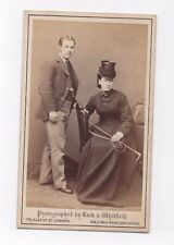 OLD CDV PHOTO LADY IN RIDING HABIT & GENT LOCK & WHITFIELD LONDON ANTIQUE 1870S