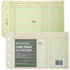 "National Brand 14-055 Ledger Sheets, 5 x 8-1/2"", Eye-Ease Paper, 100 Sheets"
