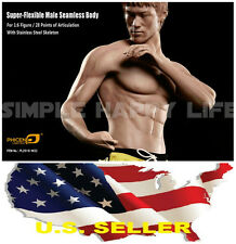 1/6 Bruce Lee Phicen PL2016-M32 Seamless Male Muscular Body Steel Skeleton USA
