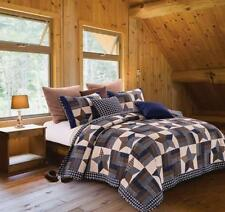 NAVY Star Primitive Look Print Quilt Set KING Size Country Charm Rustic Bedding