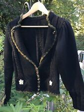Vintage ~ Cardigan ~ Small ~ Mohair & Wool~ Black ~ 1980's ~ Austria ~ Cable