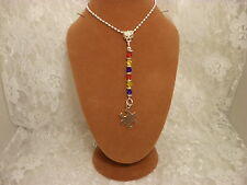 "Handmade 20"" AUTISM AWARENESS Puzzle Charm DARK Crystal Necklace/Jewelry/Women"