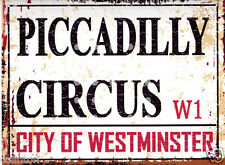 PICCADILLY CIRCUS LONDON  STREET SIGN VINTAGE STYLE 8x10in20x25cm pub bar shop