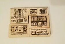 2003 Stamping Up!, 6pc., Parisian Plaza, Mounted, Wood Block, Stamps, Retired