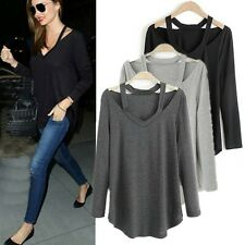 Dark Gray XL NEW Women's Sexy Loose Cotton V-Neck Tops T-Shirt Casual Blouse