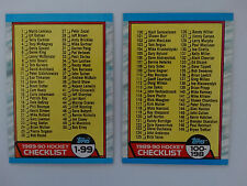 1989-90 Topps Unmarked Checklist Team Set of 2 Hockey Cards