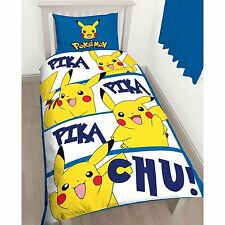 Pokemon Go Pikachu Action Game Reversible Single Duvet Quilt Cover Bed New Gift