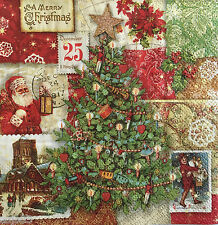 4 Paper Napkins Decoupage Victorian Christmas Tree Santa Vintage Beverage Punch