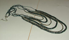 LONG GREY BLUE WOOD & MATT SILVER BEAD MULTI CORD NECKLACE SILVER PL CHAIN EXT