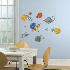 39 New PLANETS & ROCKETSHIP STARS WALL DECALS Kids Stickers Outer Space Decor