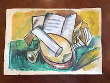 Original Watercolor & Chalk Abstract Modern Painting Signed G Braque