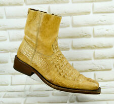 BUFFALO All Leather Mens Ankle Western Boots Hand Crafted Shoes Size 7 UK 41 EU