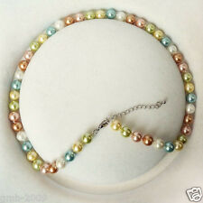 8mm Multicolor Akoya Cultured Shell Pearl Necklace 18'' AAA