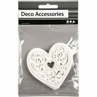 Filigree White Heart Decoration - Paper Card Cut - Pack of 18 - Wedding Bunting