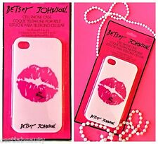 BETSEY JOHNSON iPHONE 4 4S CASE HARD SHELL CASE COVER PINK LIPSTICK PRINT NEW