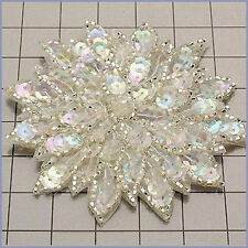 CRYSTAL IRIS  SEQUIN BEADED FLOWER APPLIQUE  2406-A